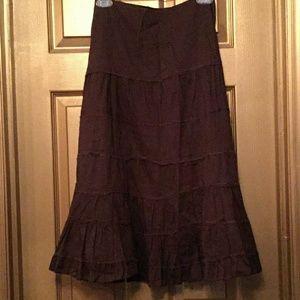 Dresses & Skirts - GORGEOUS BROWN COTTON SKIRT RAW  EDGES SIZE 14 EUC